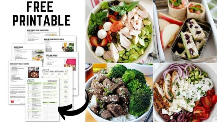 image: collage with printed meal plan papers on one side and four completed recipes on the other side of the image.