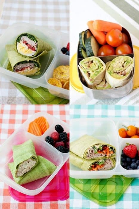 Image: a collage of cobb salad wrap, avocado and bacon pinwheels, Hummus & Veggie wrap, and chicken salad wrap in lunch containers with fruit and veggies.