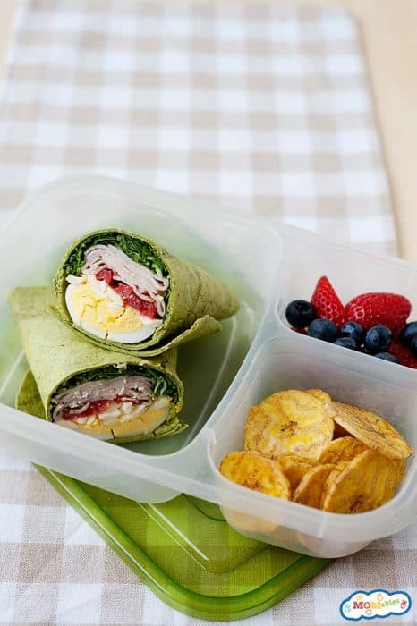 Image: Overhead view of the cobb salad wrap in a lunch container with fruit and veggies
