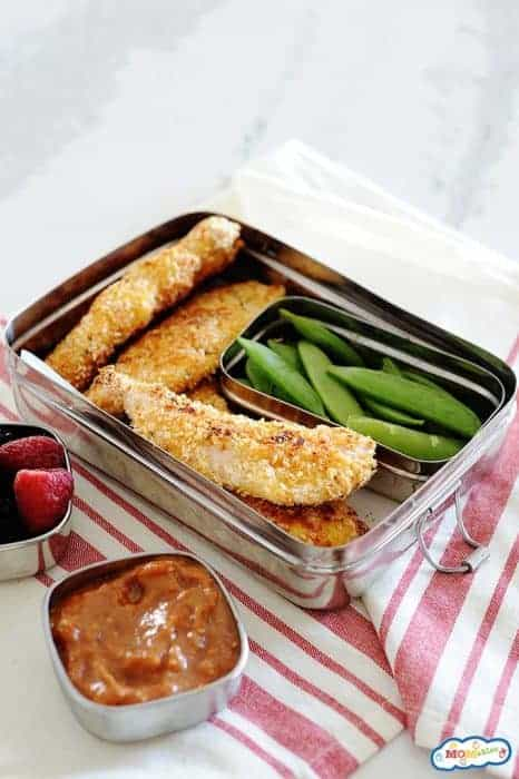 Images: baked chicken tenders in a lunchbox.