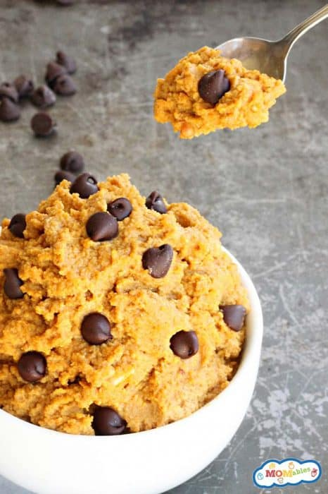 image: pumpkin cookie dough dip in a small white bowl