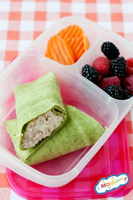image: chicken salad wrap in a lunchbox with carrot slices and berries.