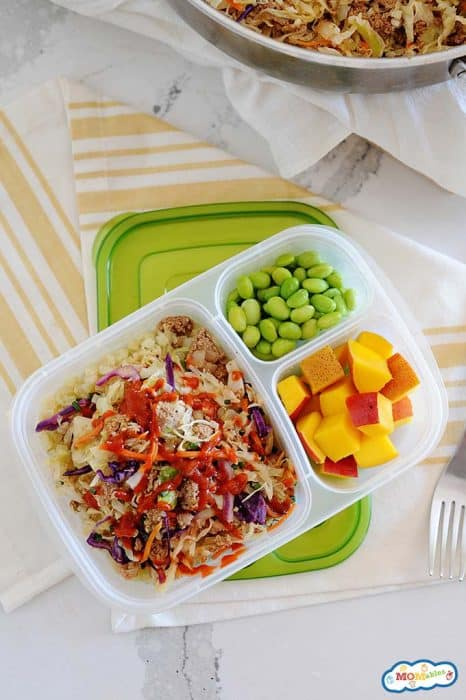 Image: eggroll in a bowl served in a lunch container with cubed mango and steamed edamame.