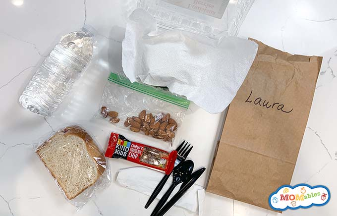 image: disposable lunch packing items.