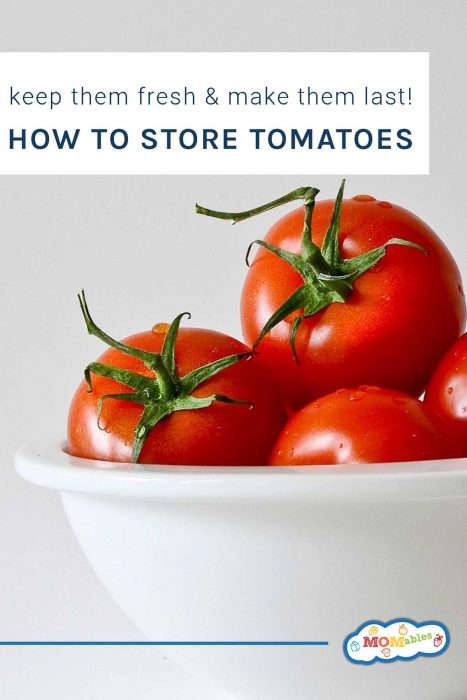ripe tomatoes in a white bowl with text overlay.