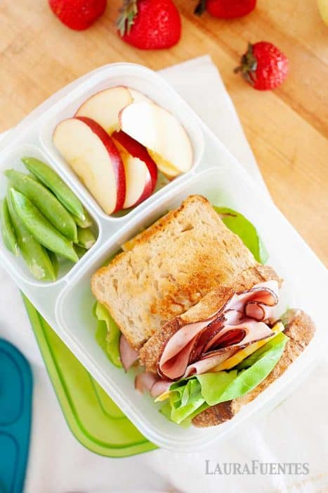 image: toasted ham sandwich in a divided lunch container with apple slices and snow peas in smaller container slots.