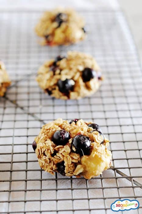 Image: blueberry oatmeal cookies on a cookie rack.