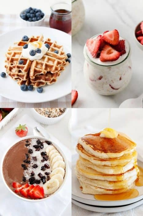 image: collage of four breakfast ideas including waffles, oatmeal, a smoothie bowl and a stack of pancakes.