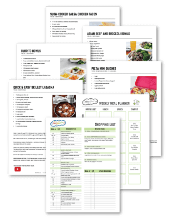 six printed pages of recipes, a meal prep guide and a shopping list