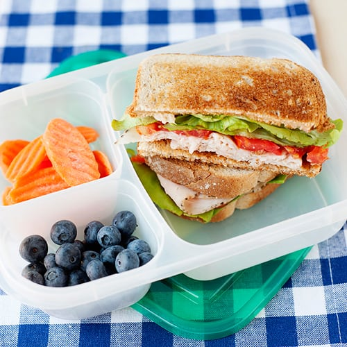 image: toasted turkey sandwich in a lunch container with berries and carrot slices