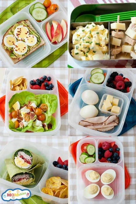 image: six collage image with various lunch ideas all made with hard boiled eggs.