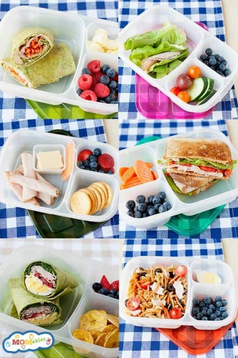 image: collage of six photos of school lunch containers packed with lunch.