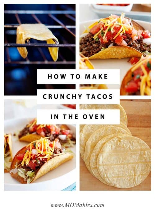 collage showing the process of how to make crunchy taco shells in the oven