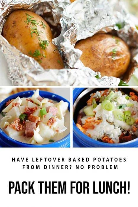 image collage of baked potatoes in foil and baked potato soup packed for lunch