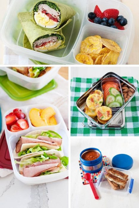 collage image of nut-free lunch ideas