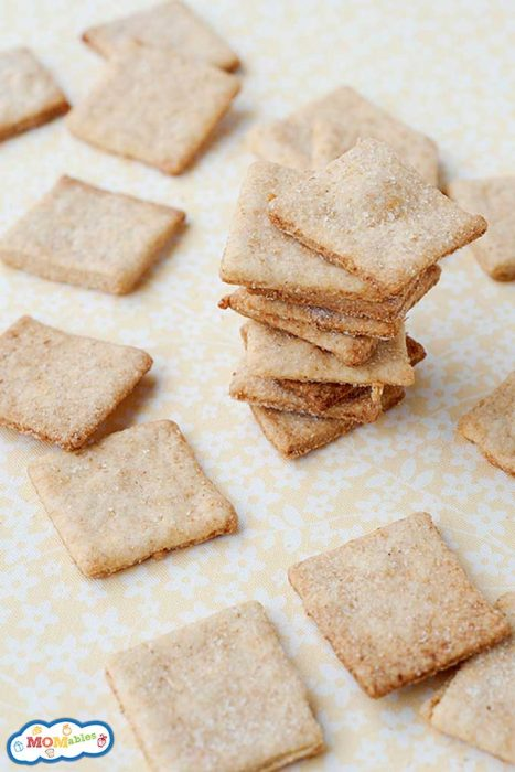 homemade wheat thin crackers on a countertop
