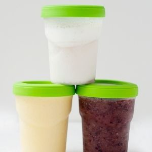 three smoothies in jars, stacked
