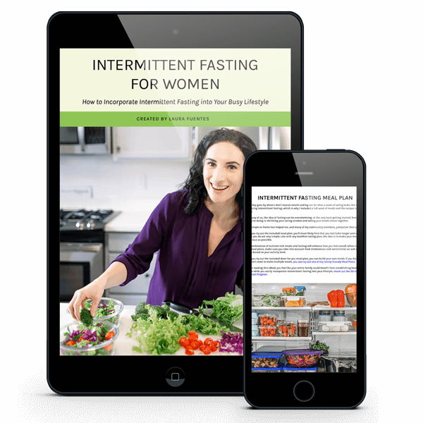 intermittent fasting ebook on a tablet and phone screen