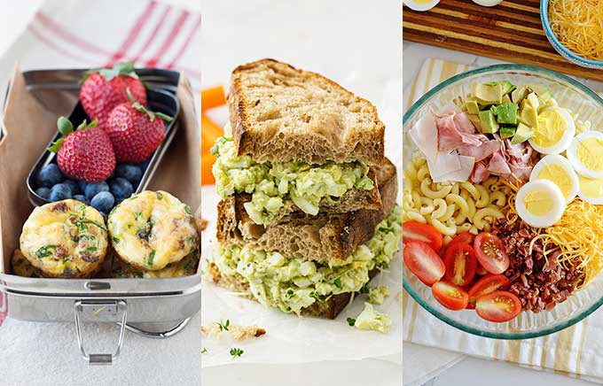 three side by side images of easy lunch foods