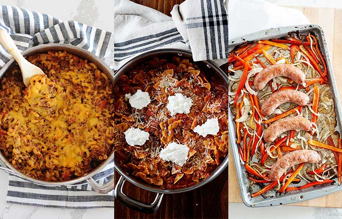 three side by side images of dinner recipes