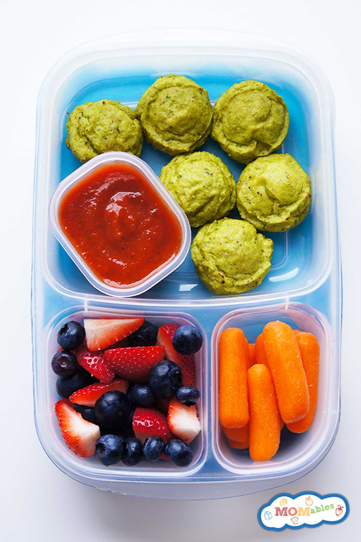 veggie nuggets in a lunch box with fruit and carrots