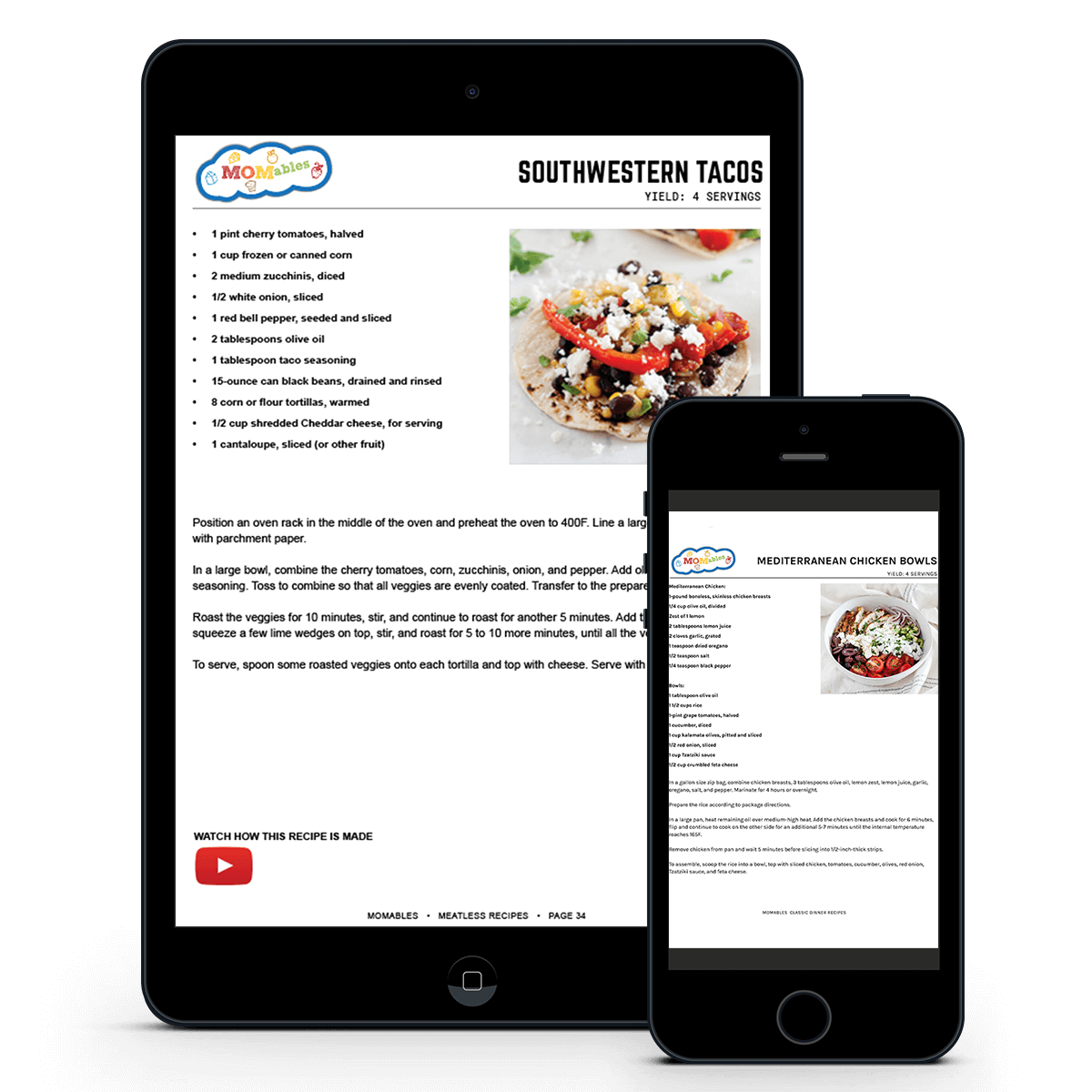 recipe in a phone and ipad