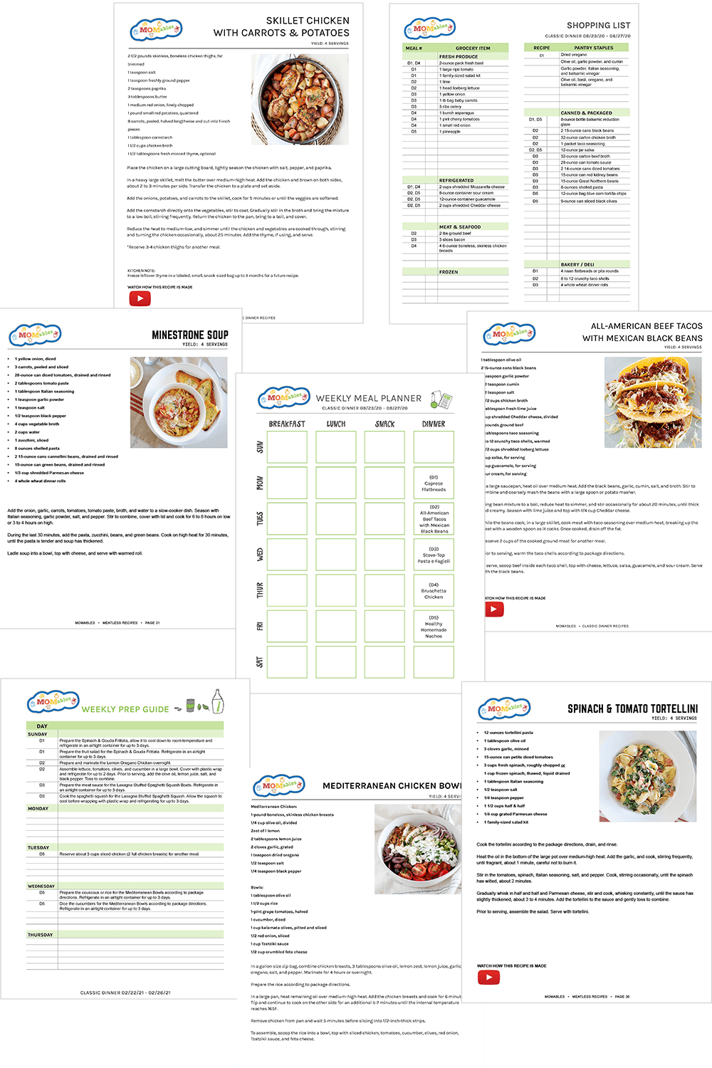 classic meal plan sheets