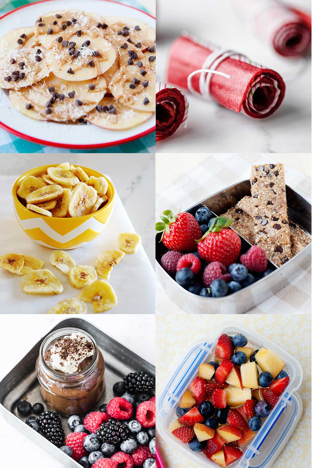 collage image of after school snack ideas