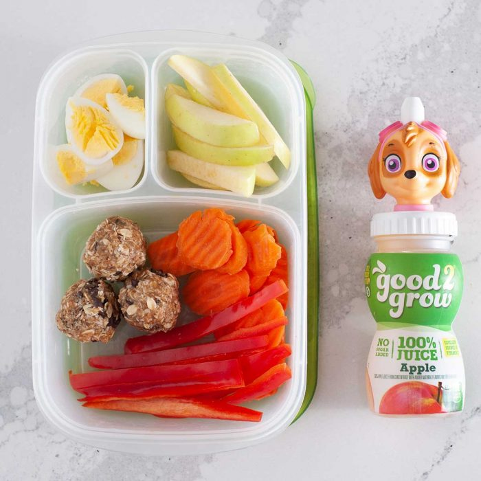 snack box for preschoolers with pa patrol juice bottle